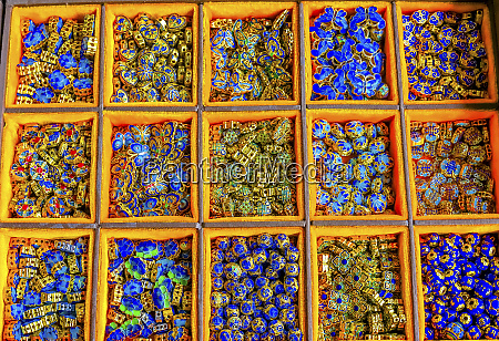 blue red green metal chinese beads