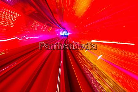 red yellow rail abstract underground railway