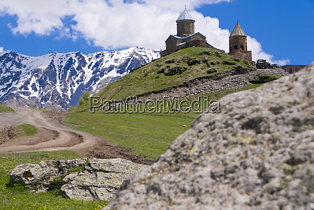 gergeti church near kazbegi georgia