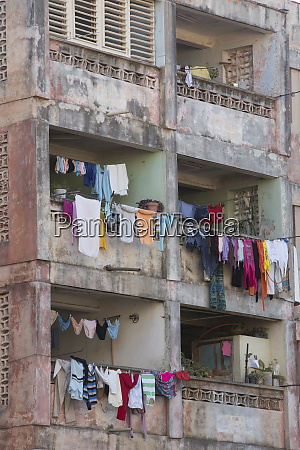 cuba trinidad apartment building with laundry