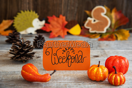 label with autumn decoration text happy