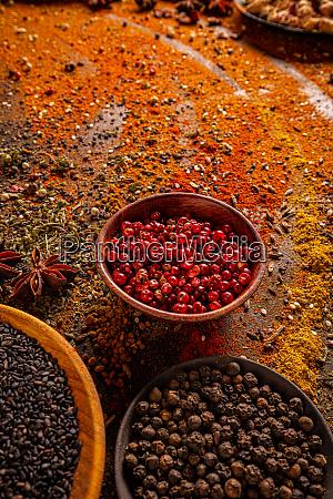 various seasonings in bowls