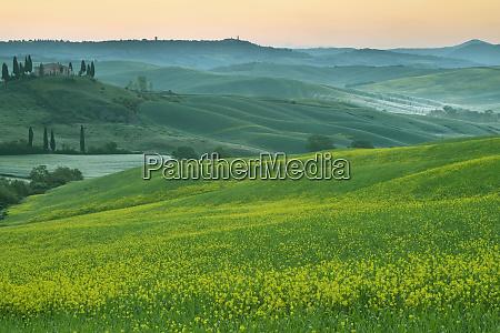 italy tuscany landscape with villa