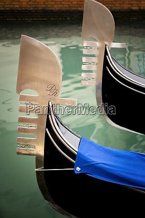 italy venice iconic bows of gondolas