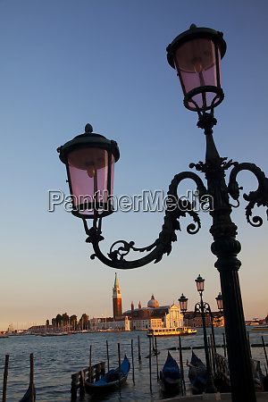 lamps with evening view of san