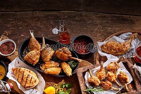 picnic buffet with grilled spicy chicken