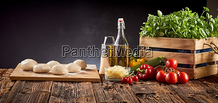 panorama banner with fresh pizza ingredients