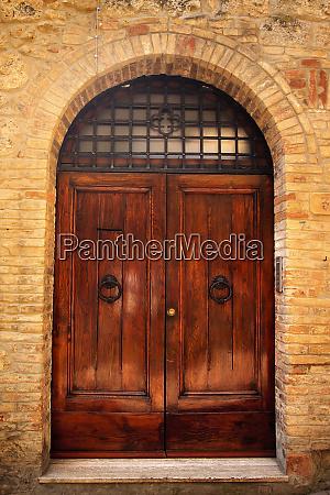 ancient brown doorway medieval stone town
