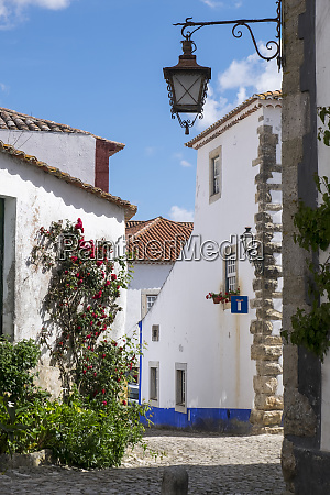 portugal obidos quaint cobblestone lane amidst