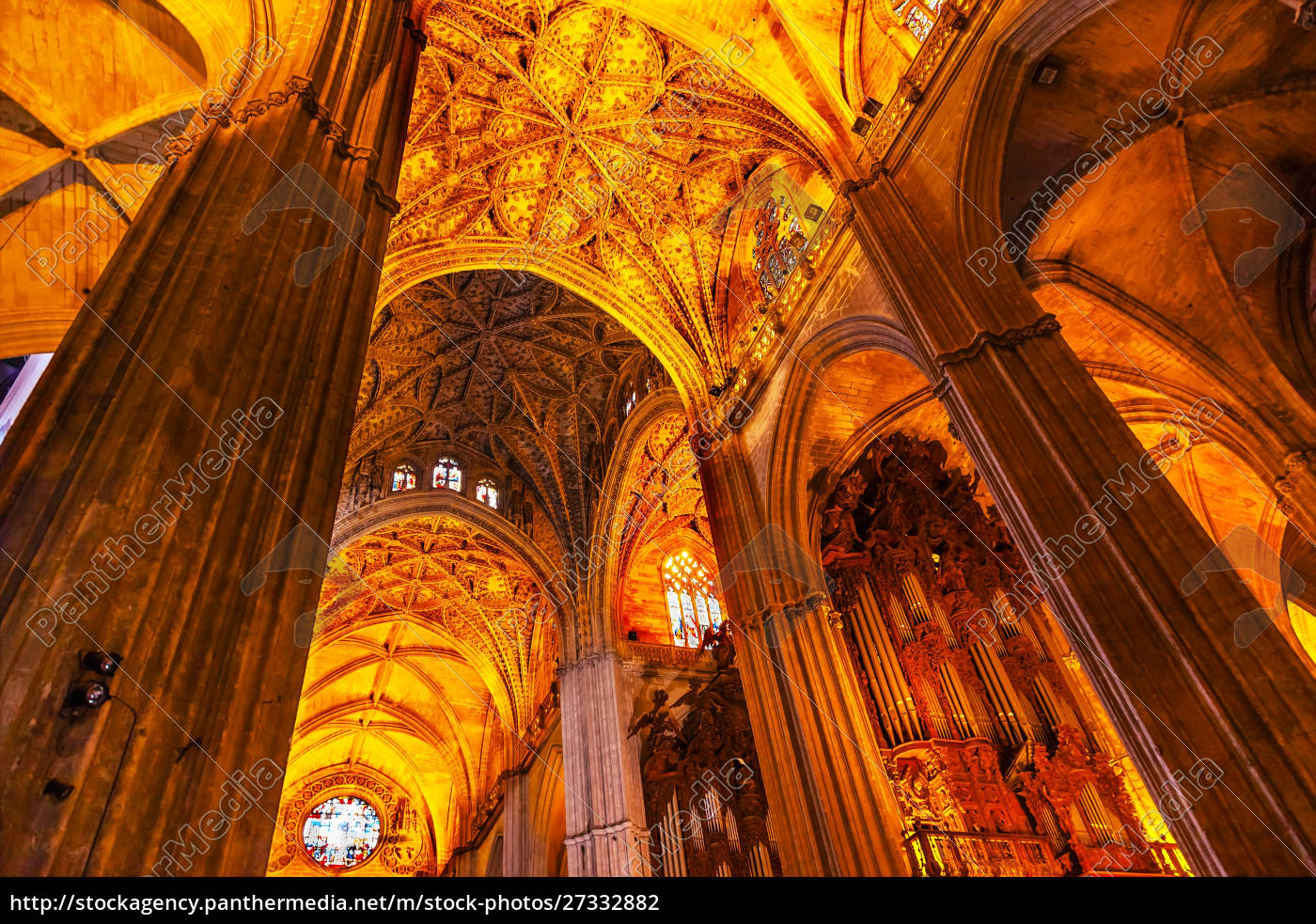 columns, , stained, glass, , seville, cathedral, , seville, - 27332882