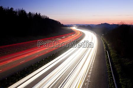 motorway at dusk gloucestershire uk