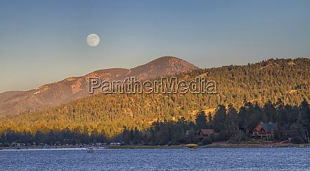 usa california big bear moonrise and