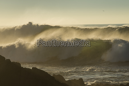 huge winter waves crashing on rocks