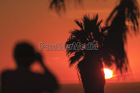 sunset tourist taking picture santa monica
