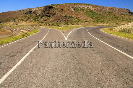 forked road near balandra bay sea