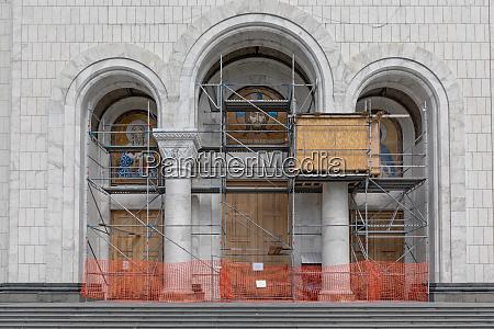 church frescoes scaffolding
