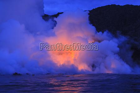 kilauea lava flow near former town