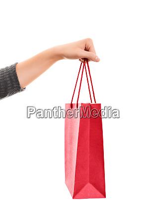 female hand holding a shopping bag
