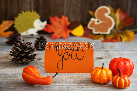 label with autumn decoration calligraphy thank