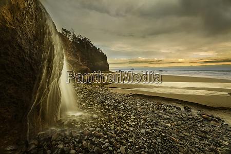 usa oregon hug point falls waterfall