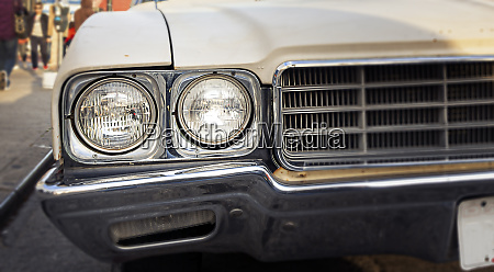 round front headlights of an antique