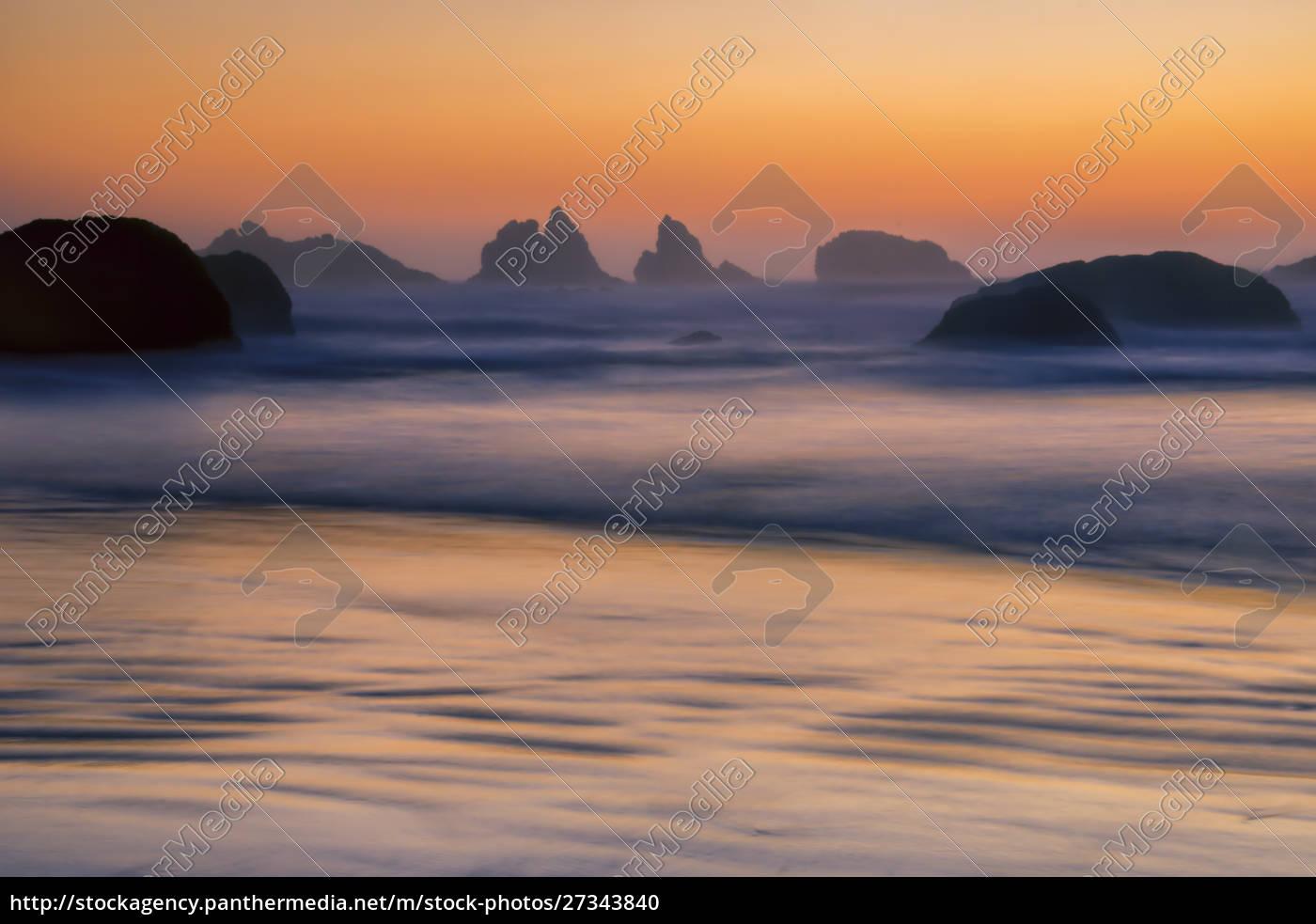 usa, , oregon, , bandon., beach, sunset. - 27343840