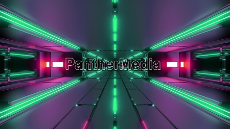 dark futuristic space tunnel corridor 3d