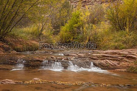 usa utah moab seasonal stream cascade