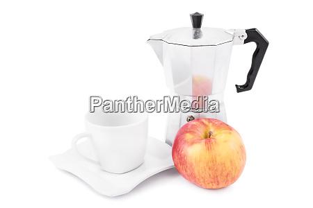 fresh coffee and apple