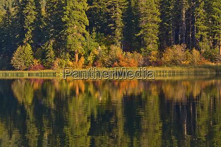 autumn reflection fish lake wenatchee national