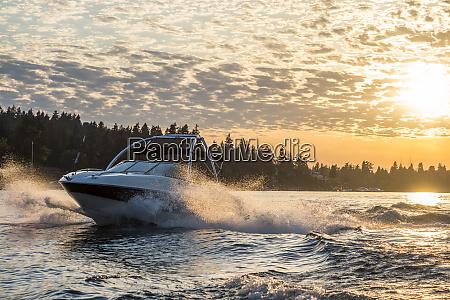 usa washington state bellevue motorboat in
