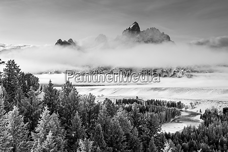 grand teton and layers of fog