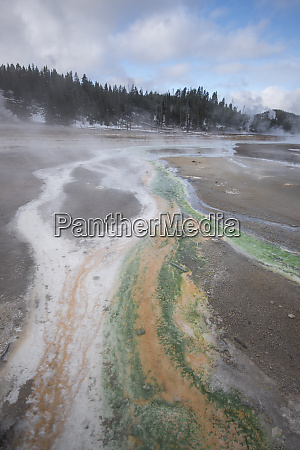 usa wyoming geothermal area and colorful