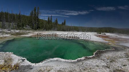 usa wyoming large green thermal pool