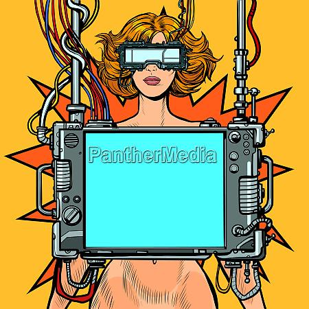 medical research cyberpunk naked woman virtual