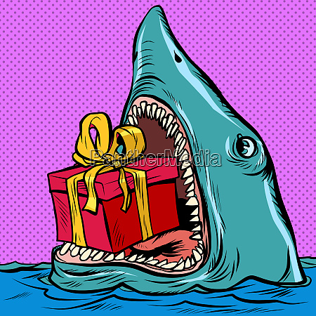 shark with a gift box holiday