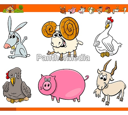 cute farm animal cartoon characters set
