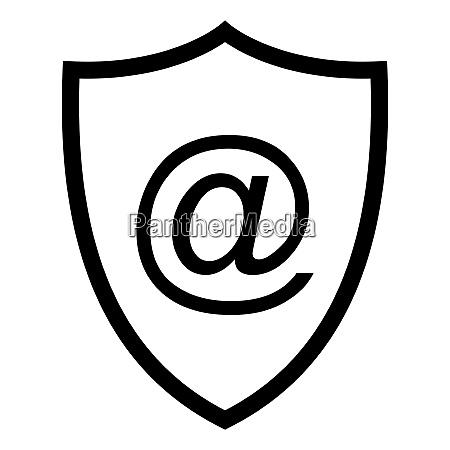e mail symbol and shield