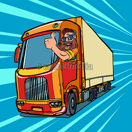 truck driver man with beard thumbs