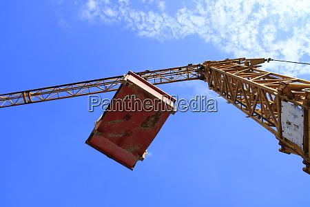 flying load under a construction crane