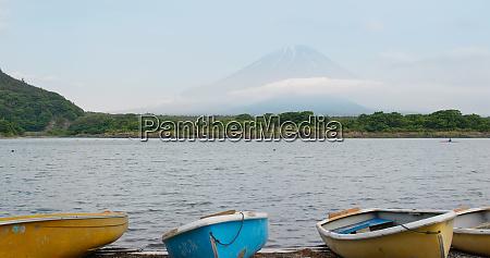 mountain fujisan and shojiko lake