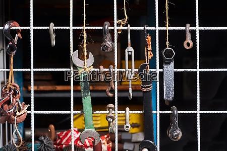 tools in a dim workshop