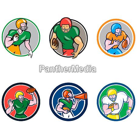 american football player circle cartoon collection