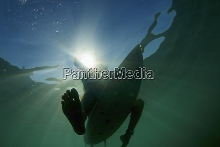 surfboard under ocean surface