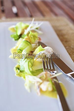 close up shrimp ceviche appetizer