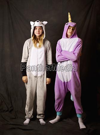 portrait confident girls in animal costume
