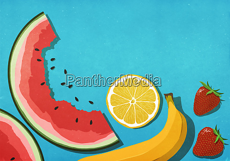 fresh juicy fruits on blue background