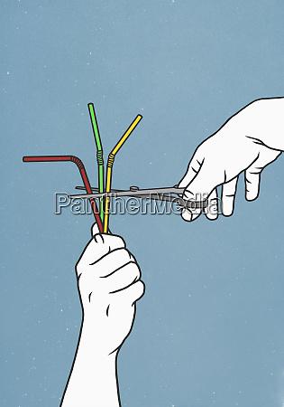 scissors cutting straws
