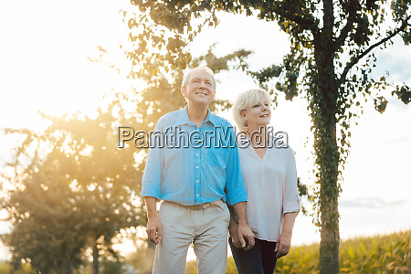senior woman and man having a