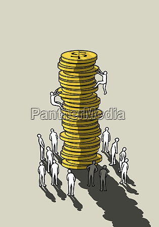 people climbing money coin stack
